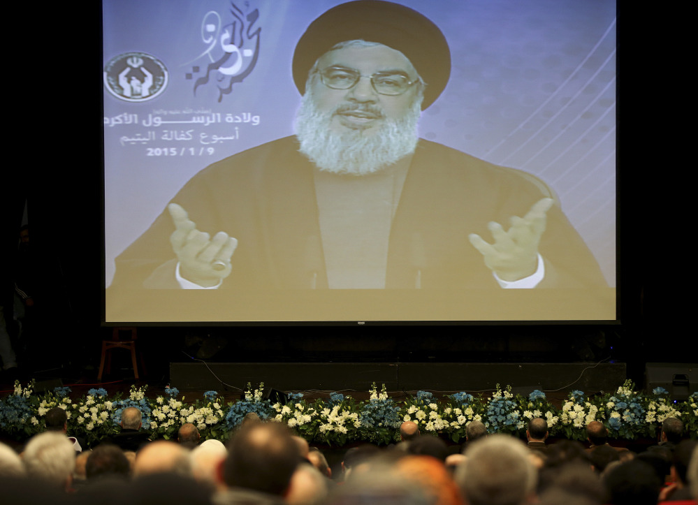 Sheikh Hassan Nasrallah speaks via video from Beirut, saying Islamic extremists have insulted the prophet with their terror more than those who have mocked him.