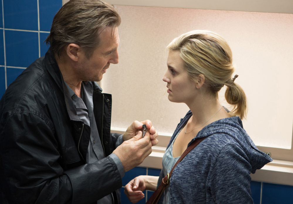 "Liam Neeson, left, plays vengeful retired CIA agent Bryan Mills, and Maggie Grace plays Kim in ""Taken 3."""