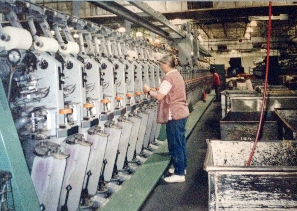 The spinning room in operation in the 1990s at the former Carleton Woolen Mill in Winthrop, which closed in 2002.
