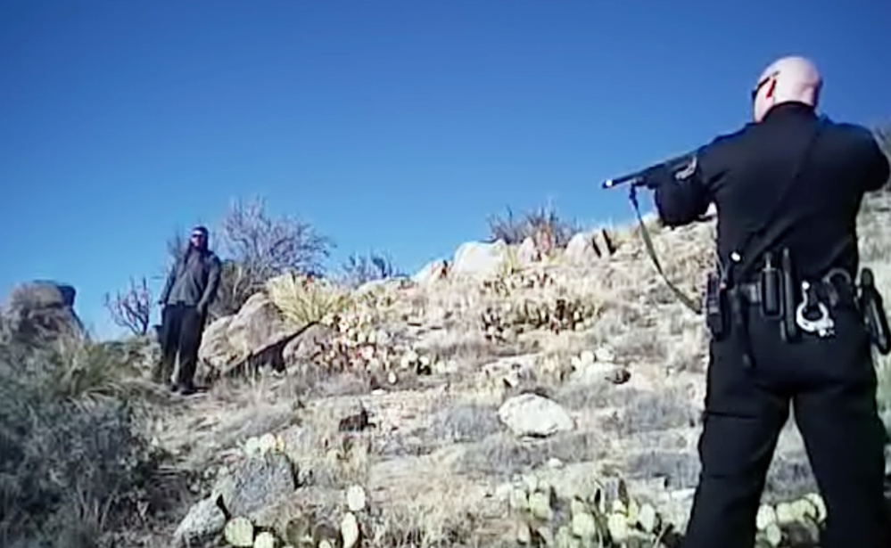 In this photo taken from a video, James Boyd, 38, is shown during a standoff with officers March 16 before police fatally shot him. Lawyers for two Albuquerque officers say both will face charges in the killing, which generated sometimes violent protests and sparked a federal investigation.