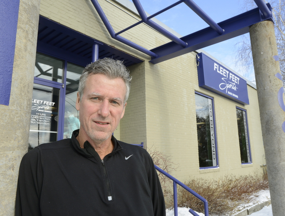 John Rogers at Fleet Feet Sports/Maine Running in Portland, reached out to customers about becoming a franchise.