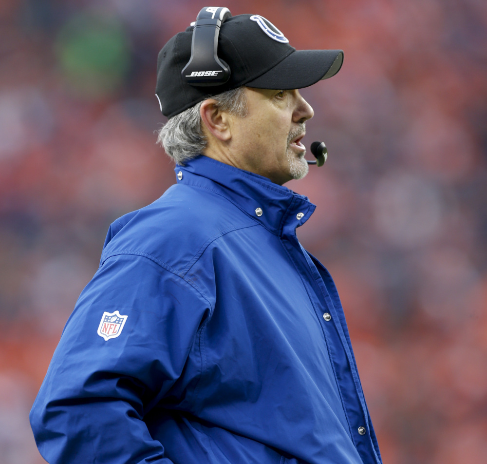 Indianapolis Coach Chuck Pagano crafted a defensive plan that stopped Cincinnati and Denver on the ground. Now the Patriots will offer a different challenge Sunday.