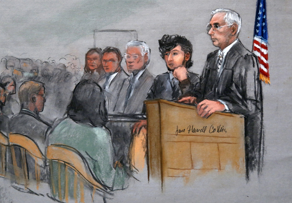 Bombing suspect Dzhokhar Tsarnaev, second from right, is depicted beside U.S. District Judge George O'Toole Jr., right, as O'Toole addresses a pool of potential jurors.