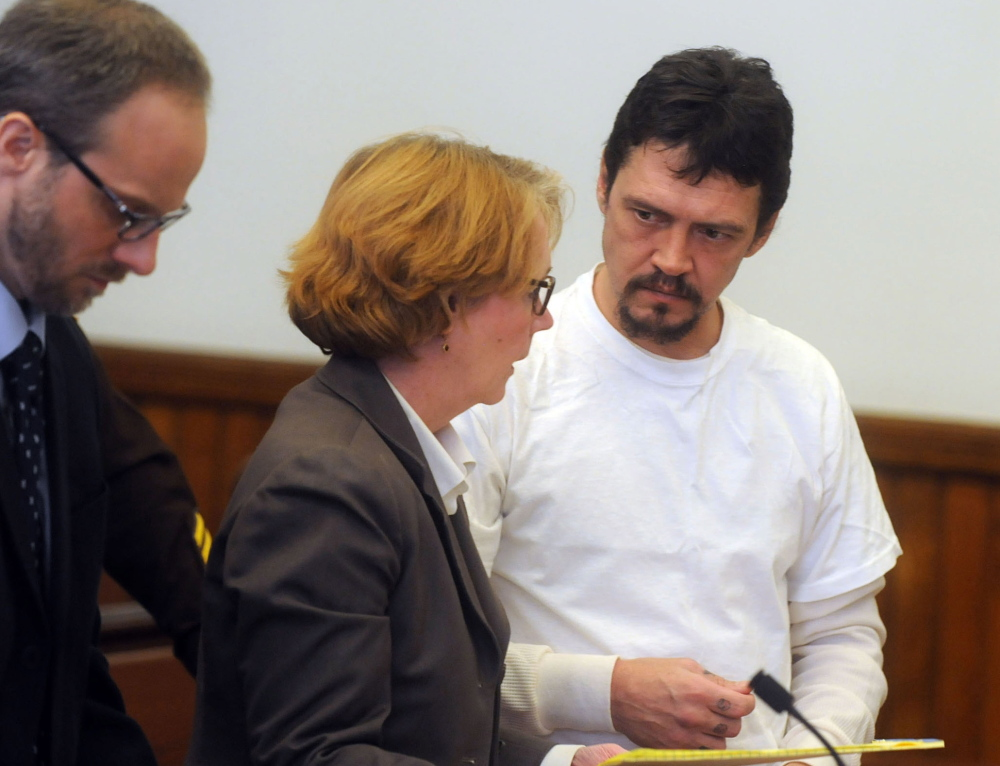 James Robarge appears at his arraignment last week in a Newport, N.H., court.   A lawyer for Robarge, 45, insists his client did not kill 42-year-old Kelly Robarge in June 2013.