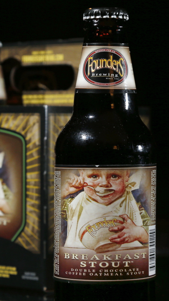Founders Breakfast Stout   can't be sold in bottles in New Hampshire because the label features a child eating breakfast. The state is considering allowing the label.
