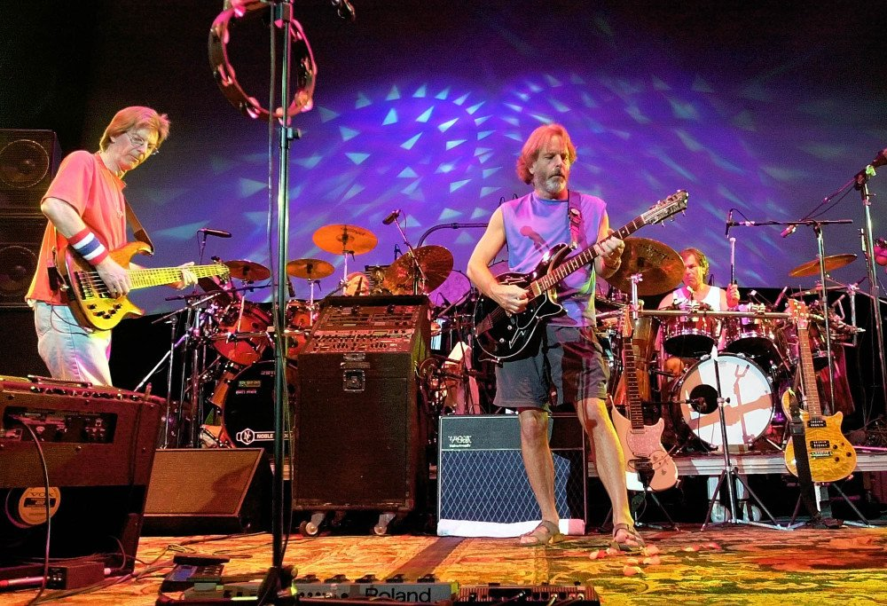 The Grateful Dead, from left, Phil Lesh, Bill Kreutzmann, Bob Weir and Mickey Hart perform during a reunion concert in East Troy, Wis.