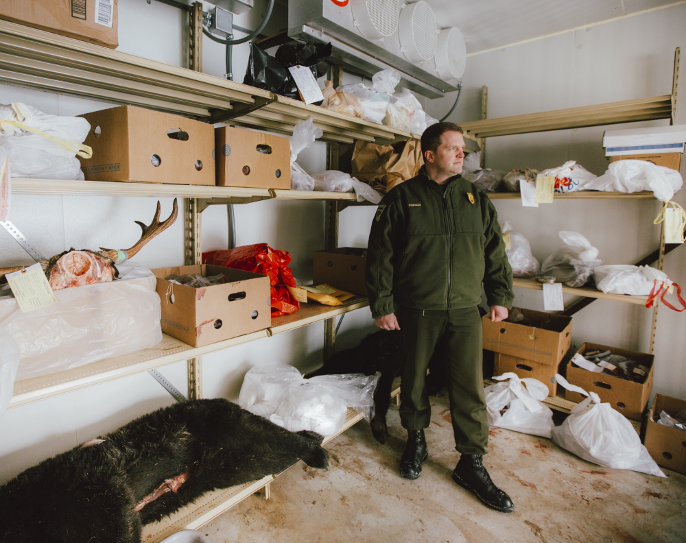Cpl. John MacDonald of the Maine Warden Service stands in the freezer where evidence from poaching cases is stored. Much of the meat goes the Hunters for the Hungry program. Whitney Hayward/Staff Photographer