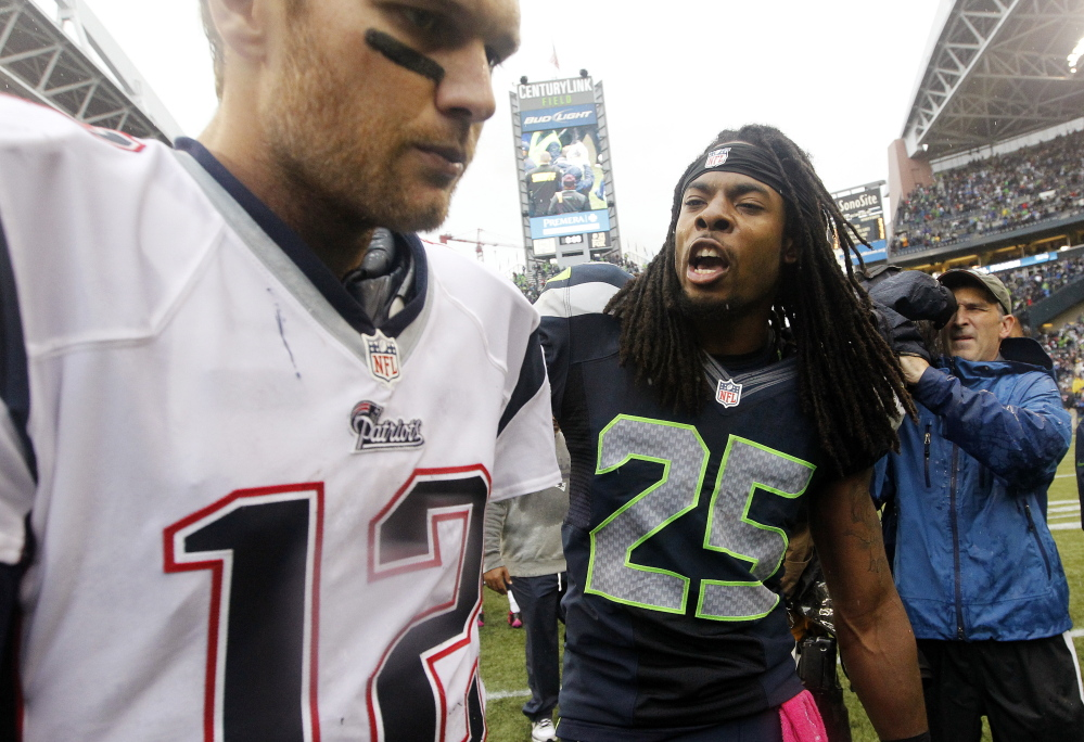 Richard Sherman of the Seattle Seahawks taunted New England quarterback Tom Brady following Seattle's victory in a regular-season game in October 2012. The brashness of the Seahawks contrasts with Bill Belichick's just-hunker-down-and-win philosophy with the Patriots.