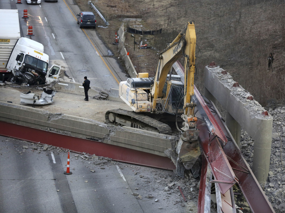 A construction crew was working on a Cincinnati bridge Monday night when the span collapsed onto Interstate 75. The crash killed a worker and injured a truck driver.