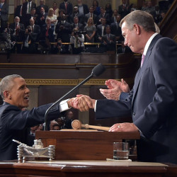 President Obama shakes hands with House Speaker John Boehner before delivering his State of the Union address Tuesday night. Obama reveled in past victories while laying out an aggressive agenda for the next two years.