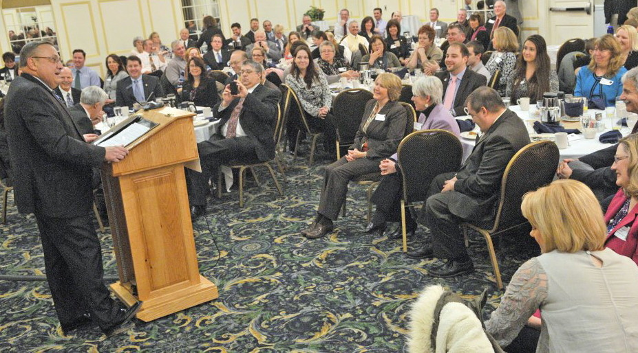 Gov. Paul LePage speaks Wednesday to the Kennebec Valley Chamber of Commerce at the Senator Inn and Spa in Augusta.