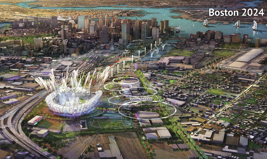 This artist's rendering released Wednesday by the Boston 2024 planning committee shows a proposed pedestrian boulevard along a channel running to a temporary Olympic stadium in Boston, if the city is awarded the Summer Olympic games in 2024.