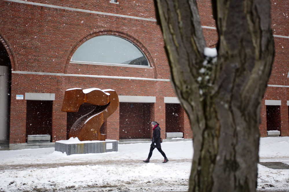 "The Robert Indiana sculpture ""Seven"" in front of the Portland Museum of Art was recently vandalized."