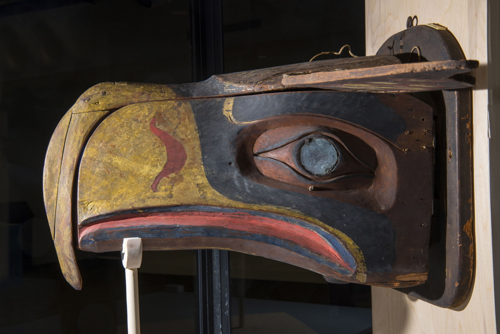 The University of Maine got its mask from a Falmouth resident and collector. A museum curator at the University of Washington said a photograph of the Kwakwaka'wakw transformation mask was the inspiration for the Seattle Seahawks' logo.