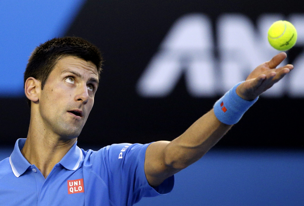 Novak Djokovic serves to Fernando Verdasco in their third-round match at the Australian Open on Saturday in Melbourne, Australia.