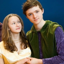 """Merriconeag Waldorf School sophomores, from left, Thomas Kolle, Sarah Norden, Davis Ritger and Ava Haag rehearse for """"Pippin."""" Four performances will be presented this week."""