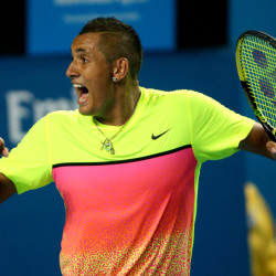 Nick Kyrgios of Australia reacts to a point won over Andreas Seppi of Italy during their fourth-round match Sunday at the Australian Open in Melbourne, Australia.