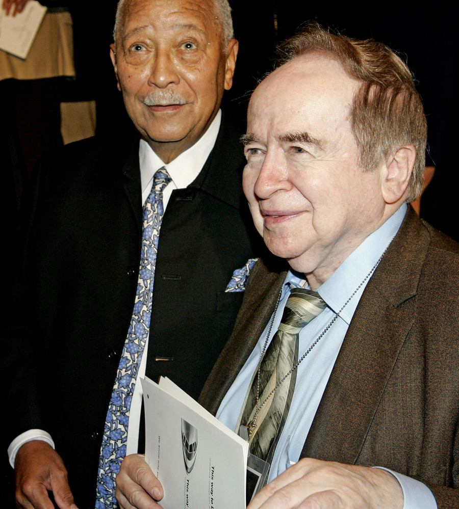 In this June 9, 2006, photo former New York City Mayor David Dinkins, left and Joe Franklin attend the Friars Club celebrity roast of legendary comedian Jerry Lewis in New York City.