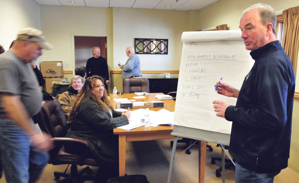 Philip Geelhoed, president and CEO of Special Olympics Maine,  outlines changes to events for this year's Special Olympics Maine Winter Games at Sugarloaf ski resort during a meeting Sunday.
