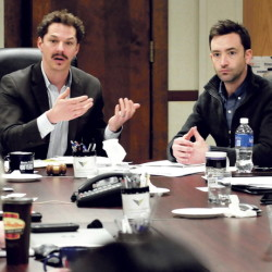 Sen. Justin Alfond, left, and Patrick Roche of Think Tank Coworking discuss ways to create co-location work spaces Monday at Mid Maine Chamber of Commerce in Waterville.