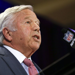 "New England Patriots owner Robert Kraft speaks during a news conference Monday in Chandler, Ariz. He said that if the NFL ""is not able to definitively determine that our organization tampered with the air pressure in the footballs, I would expect and hope the league would apologize to our entire team."""