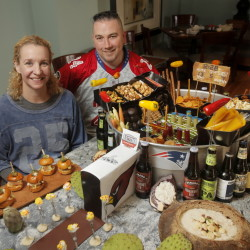 Brian and Shanna O'Hea, chefs and owners at The Kennebunk Inn, created a football stadium of snack foods.