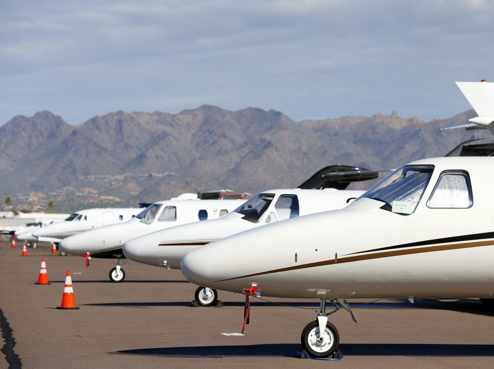 Private jet-setters are arriving in style at Scottsdale Airport as well as the seven other airports around metropolitan Phoenix for Sunday's Super Bowl and a PGA golf tournament. The boost in private jet traffic is one of many indicators how major sporting events have become VIP events.