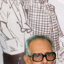 "R. K. Laxman's cartoon, ""Common Man,"" was popular enough to spawn a long-running TV sitcom in India."