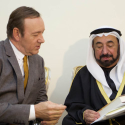 Actor Kevin Spacey meets with Sheik Sultan bin Mohammed Al Qasimi in the United Arab Emirates prior to a play by young actors from throughout the Arab world.
