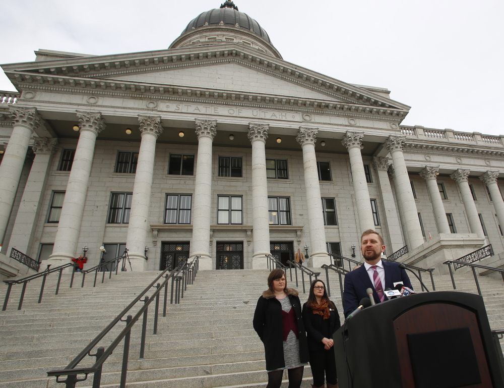 Executive director of Equality Utah Troy Williams discusses the Mormon church's efforts to balance its religious values with gay rights Tuesday in Salt Lake City.