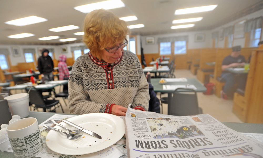 Oakland's Roberta Drummond didn't need her daily newspaper to know a serious storm was underway, and hardy soul that she is, she made it for breakfast at the Early Bird Restaurant, which in its 18 years has never closed because of inclement weather.
