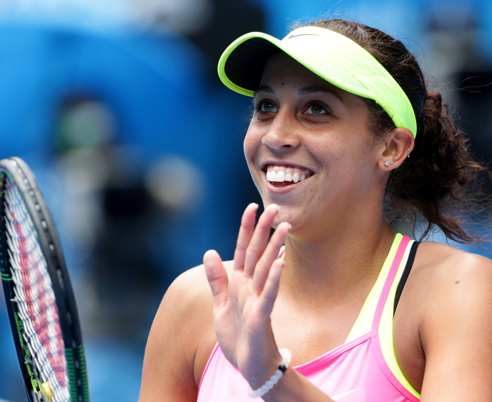 Madison Keys, a 19-year-old American, celebrates Wednesday after ending Venus Williams' run in Australia. Keys earned a berth in the semifinals.
