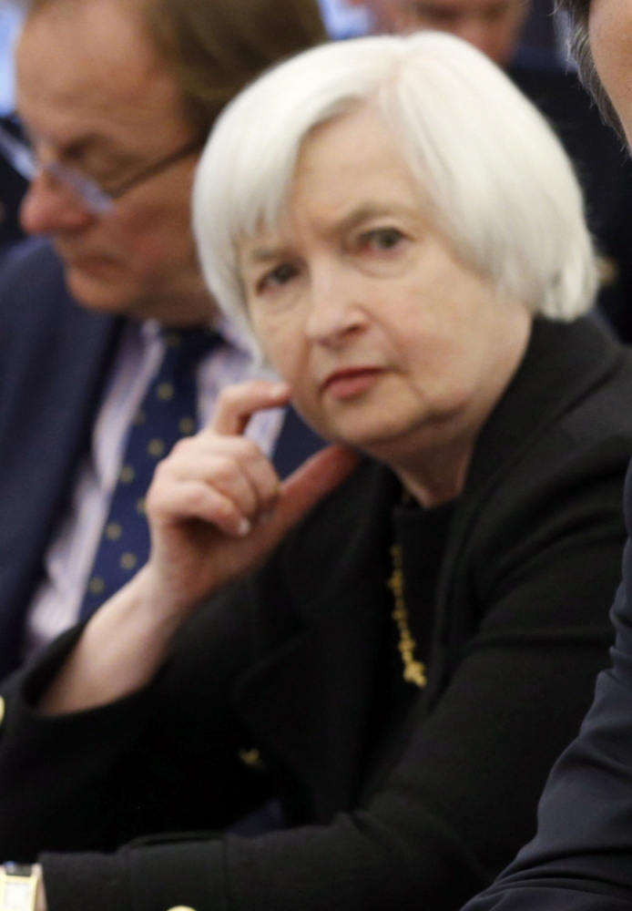 Federal Reserve Chairwoman Janet Yellen has said patience means a rate hike is unlikely for at least the next two meetings.