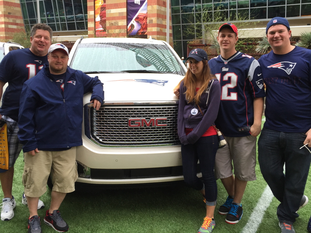 Matinicus Island residents, from left, Marty Molloy, Josh Ames, Stephanie Perry, David Ames and Tyler Bemis made the trek to Arizona to support the Patriots at the Super Bowl. Mike Lowe/Staff Writer