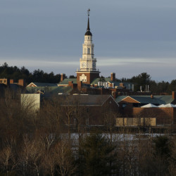 Miller Library towers above the Colby College campus in Waterville. The college has an endowment that's approaching $750 million.