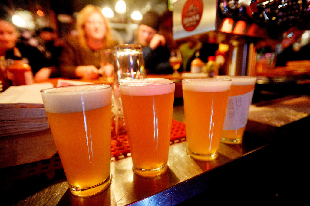 Pints of Austin Street Patina Pale Ale are lined up at the bar during the Industrial Park Challenge on Thursday at the Great Lost Bear in Portland. The beer finished second in the popularity contest.