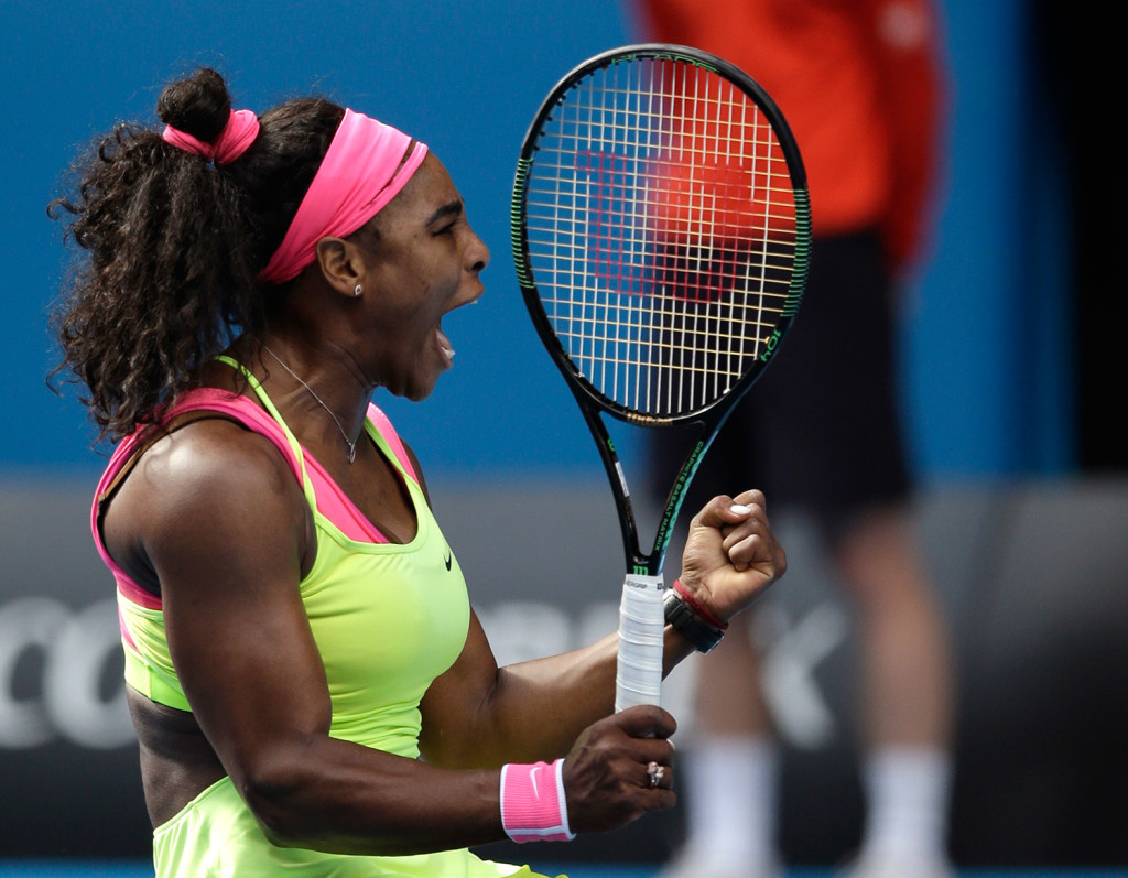 Serena Williams celebrates after defeating her compatriot Madison Keys in their semifinal match at the Australian Open tennis championship in Melbourne, Australia, on Thursday,
