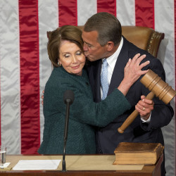 kisses House Minority Leader Nancy Pelosi of Calif. after being re-elected to a third term during the opening session of the 114th Congress, as Republicans assume full control for the first time in eight years, Tuesday, Jan. 6, 2015. The Associated Press