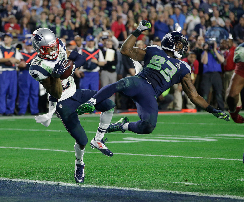 Feb. 2, 2015: New England Patriots strong safety Malcolm Butler (21) intercepts a pass intended for Seattle Seahawks wide receiver Ricardo Lockette (83) in the final seconds of NFL Super Bowl XLIX in Glendale, Ariz., to seal New England's 28-24 victory. The Associated Press