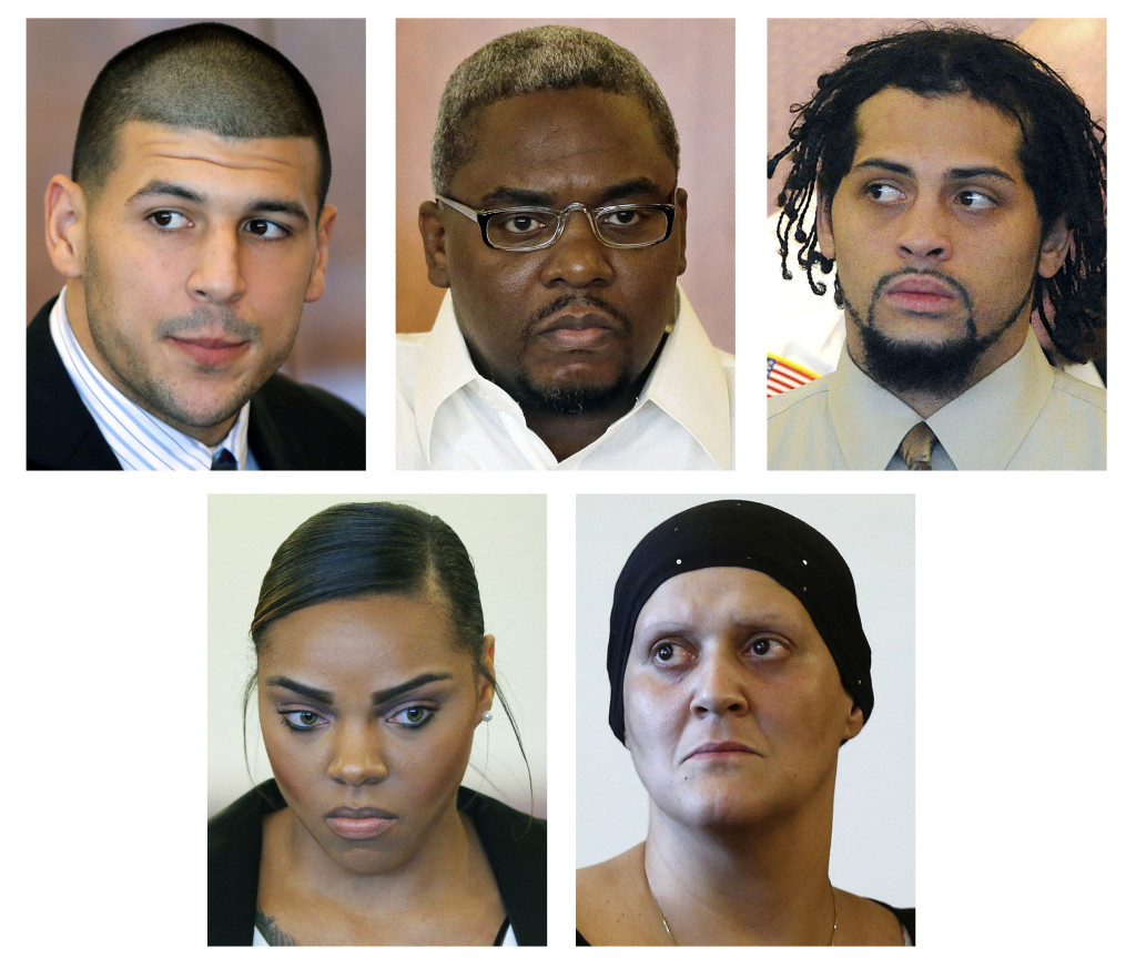 Some of those who are connected to the murder trial of former New England Patriots tight end Aaron Hernandez include, top row, from left: Hernandez and co-defendants to be tried separately, Ernest Wallace and Carlos Ortiz. Bottom row, from left are Shayanna Jenkins, Hernandez's fiancee charged with perjury;  and Tanya Singleton, Hernandez's cousin, charged with conspiracy to commit accessory after the fact. The Associated Press