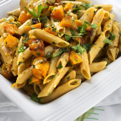 Pasta with herbs and butternut squash.