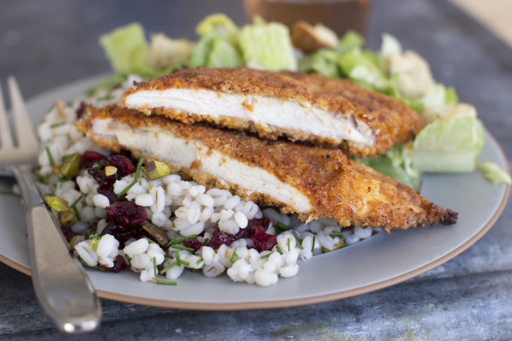 Sweet and spicy panko-crusted chicken can be pan fried or baked in the oven.