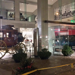 Thieves left the Chevrolet Suburban after driving it through a window of the Wells Fargo History Museum in downtown San Francisco. The Associated Press