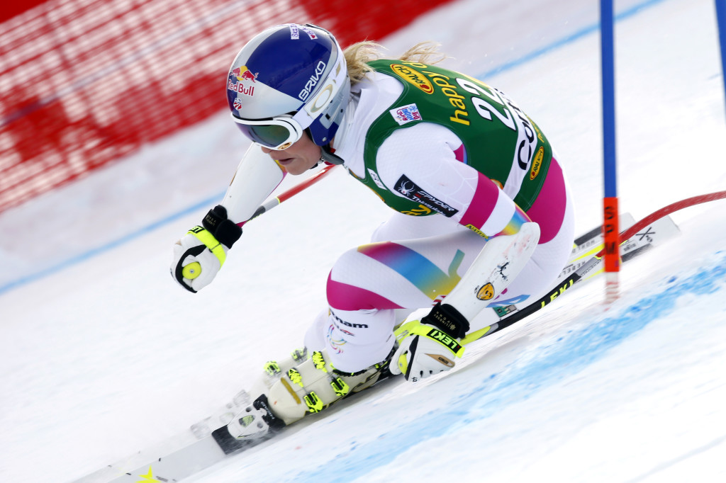 Lindsey Vonn speeds down the course during an women's World Cup alpine super-G, in Cortina d'Ampezzo, Italy, Monday. The Associated Press