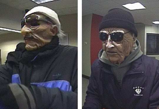 Two robbers wearing masks depicting elderly men hit two Key Bank branches in Portland on Friday.