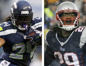 While Seattle Seahawks running back Marshawn Lynch, left, has nothing to say to the media, Patriots running back LeGarrette Blount welcomed the bombardment of questions on Super Bowl Media Day.