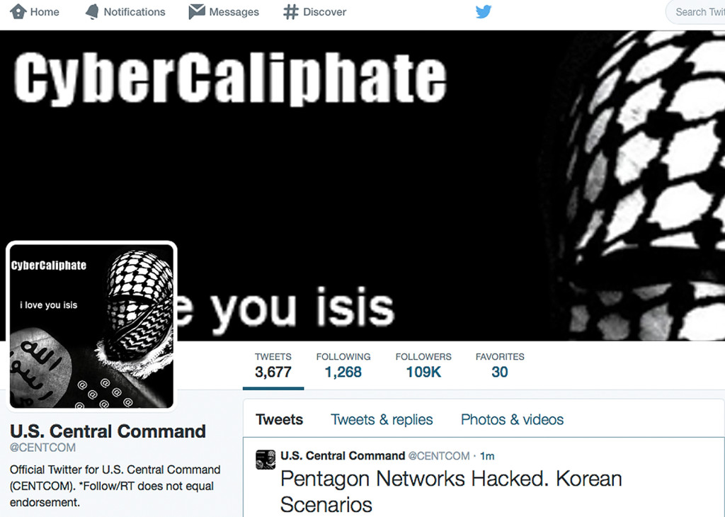 This screen grab made Monday, Jan. 12, 2015, shows the front page of the U.S. Central Command Twitter account after it was hacked. The Twitter site of the military's U.S. Central Command was taken over Monday by hackers claiming to be working on behalf of the Islamic State militants.