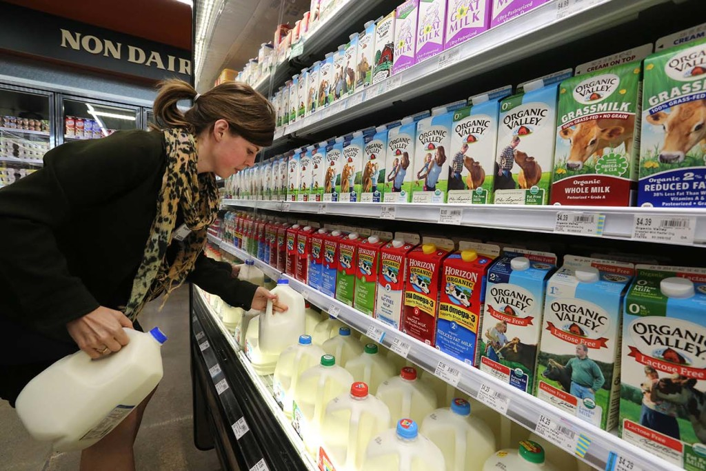 Grocery and dairy assistant Reyna DeLoge stocks dairy products that only use milk from pasture-raised cows, at Vitamin Cottage Natural Grocers, in Denver. As Americans continue turning away from milk, an industry group is pushing back at its critics with a