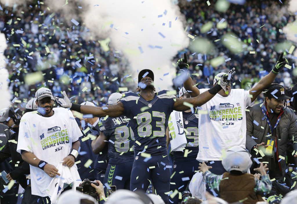 Seattle Seahawks wide receiver Ricardo Lockette (83) celebrates after his team won the NFC championship game against the Green Bay Packers on Sunday. The Associated Press