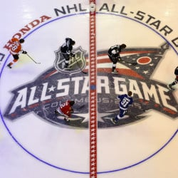 Team Foligno, led by captain Nick Foligno, right, skate during the Breakaway competition at the NHL All-Star hockey skills competition in Columbus, Ohio, Saturday, Jan. 24, 2015. Team Foligno won the overall competition over Team Toews. The Associated Press